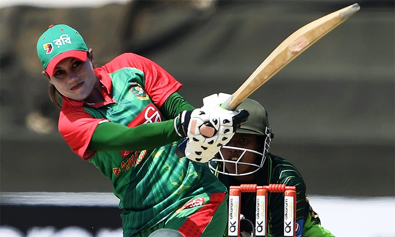 In this file photo, Bangladesh captain Jahanara Alam plays a shot during the first T20 match between the Pakistan and Bangladesh women's cricket team at The Southend Club in Karachi on September 30, 2015. — AFP