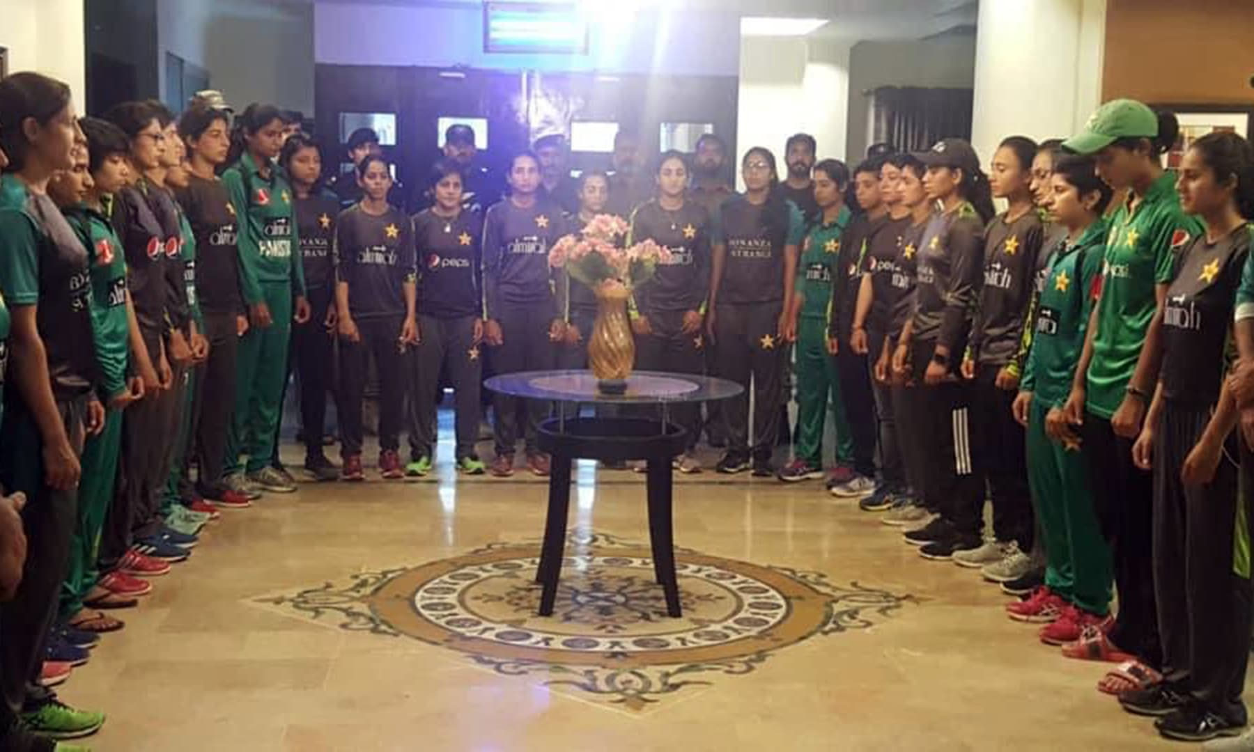 Members of the Pakistan women's cricket team and others stand in solidarity with occupied Kashmir. — Photo courtesy: PTI Twitter