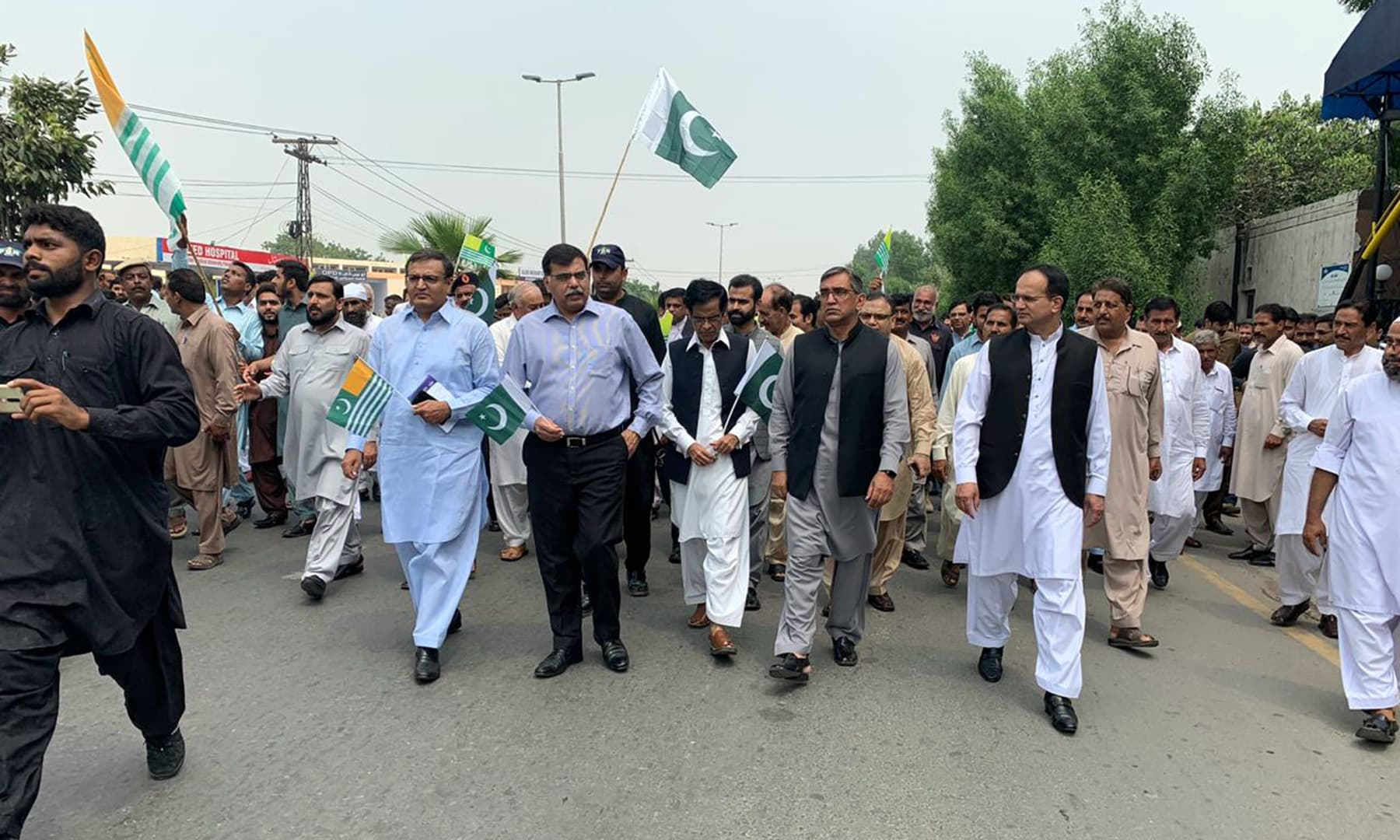 Citizens and civil servants take part in a rally in a show of solidarity with the people of occupied Kashmir in Faisalabad. — Photo courtesy: Rahil Akhtar