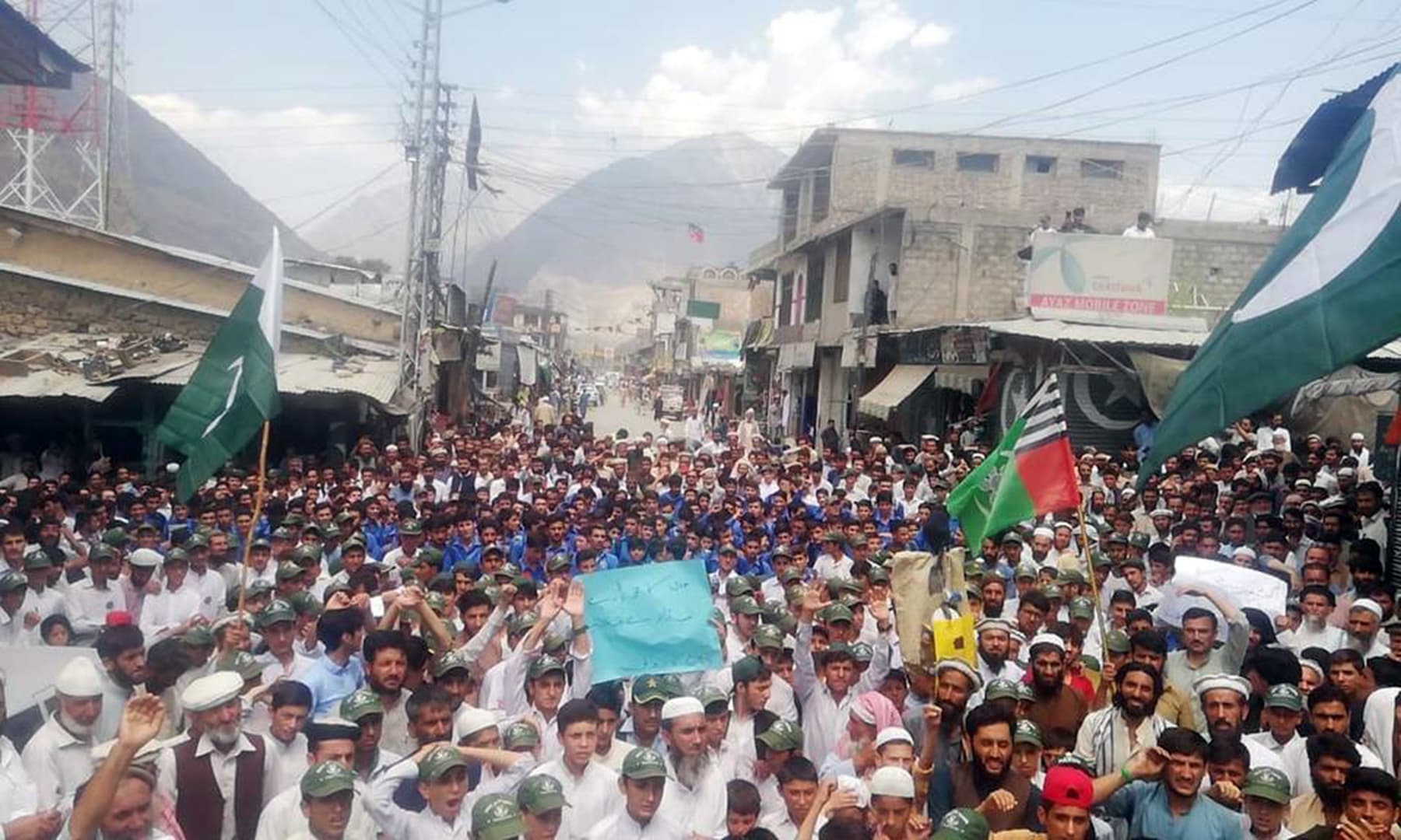 Residents take part in a rally to show solidarity with occupied Kashmir in Chitral. — Photo courtesy: PTI Twitter