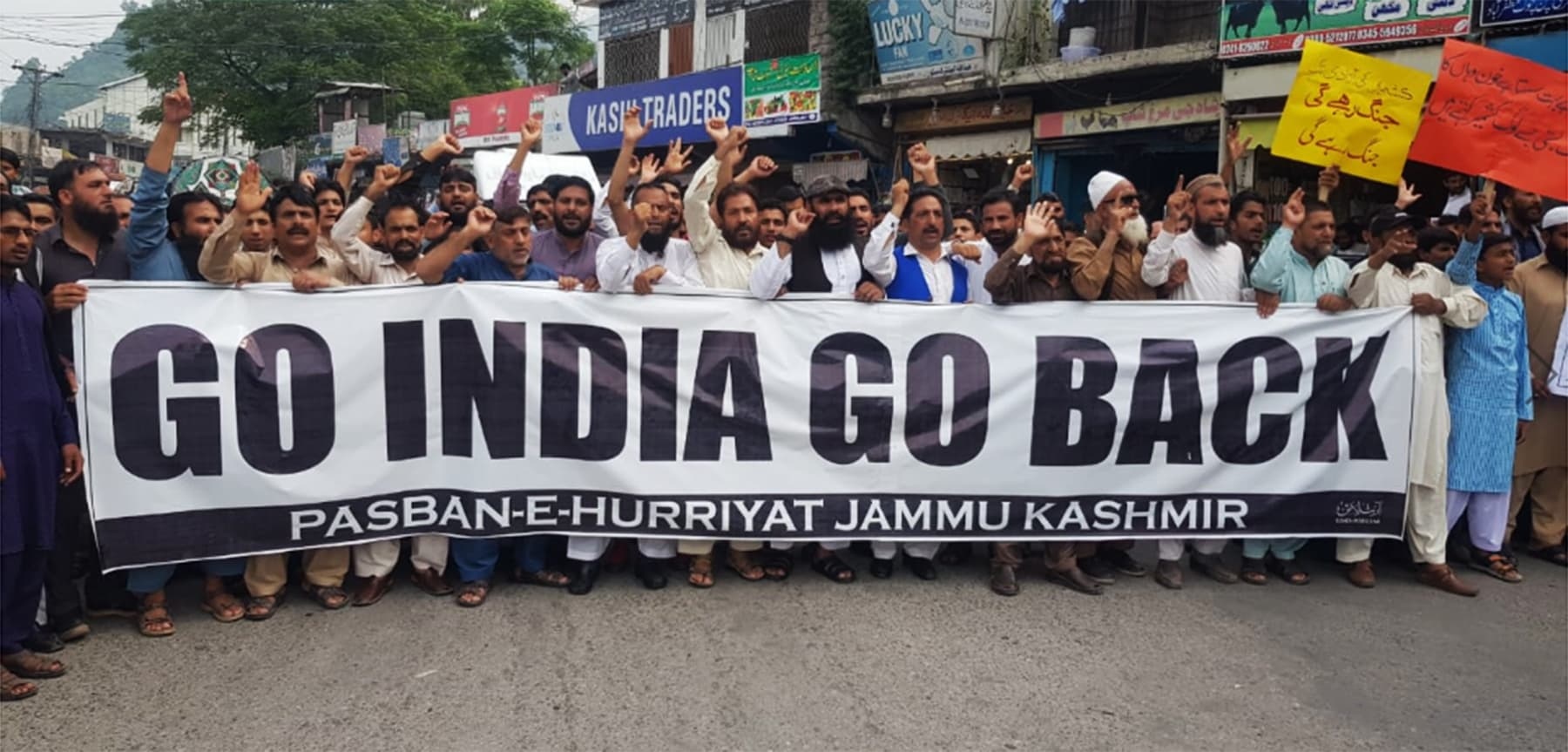 Pasban e Hurriyat, an organisation of post 1989 migrants from occupied Kashmir, staged a rally near press club to condemn India's occupation of Kashmir. — Tariq Naqash
