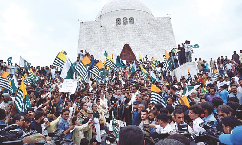 PEOPLE gather at the Quaid's mausoleum to observe solidarity with Kashmiris on Friday.—APP