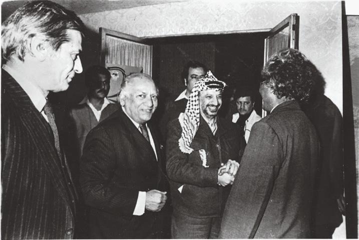 Faiz Ahmed Faiz with Yasser Arafat, leader of the Palestinian Liberation Organisation | Dawn file photo