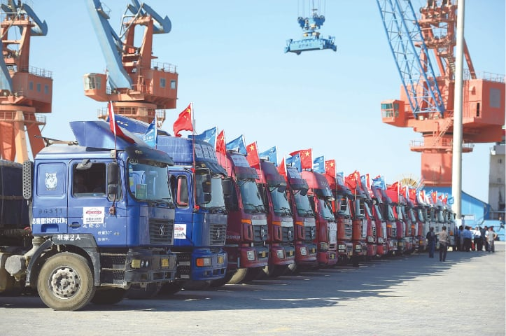 Chinese trucks are parked at the Gwadar port, some 700 kilometres west of Karachi | White Star
