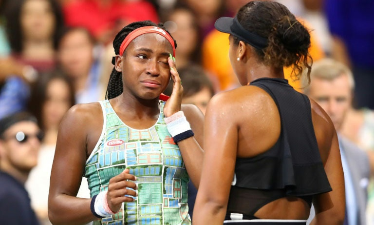 Coco Gauff was overcome with emotion after a heavy defeat by Naomi Osaka at the US Open on Saturday. — AFP