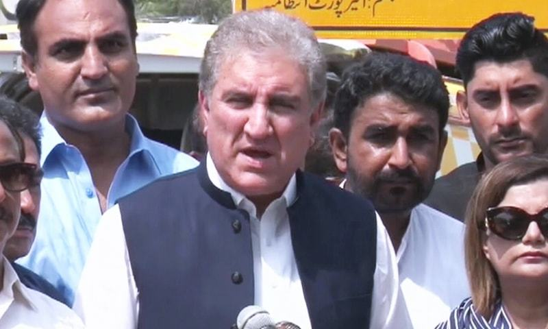 Foreign Minister Shah Mahmood Qureshi talks to the media in Karachi on Sunday. — DawnNewsTV