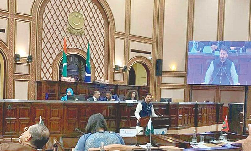 MALE: National Assembly Deputy Speaker Qasim Khan Suri speaks at the South Asian Speakers' Summit.—APP