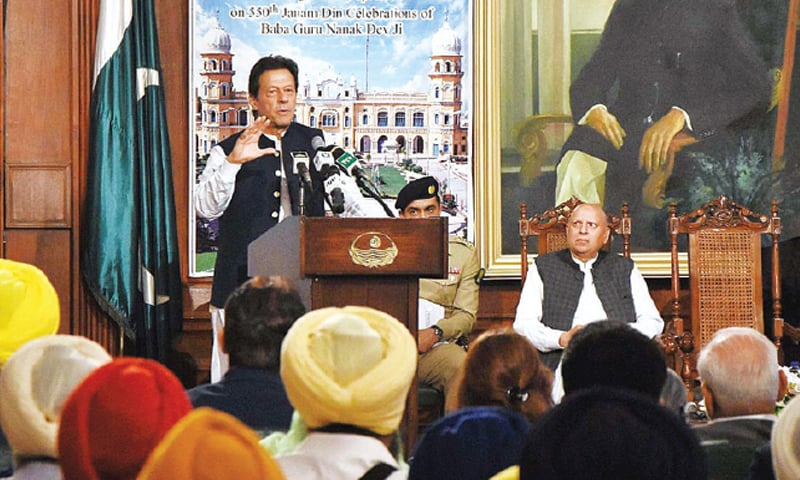 LAHORE: Prime Minister Imran Khan speaks at the International Sikh Convention on 550th Janam Din celebrations of Baba Guru Nanak at Governor House on Monday. — APP