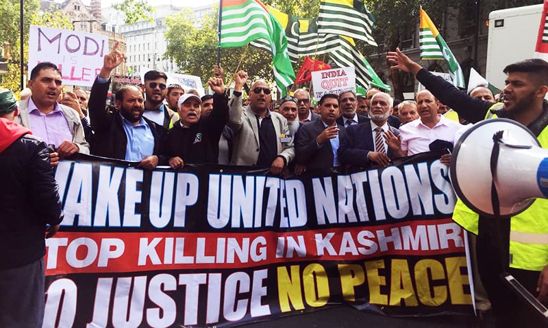 Thousands march to Indian High Commission in London as occupied Kashmir lockdown enters 30th day