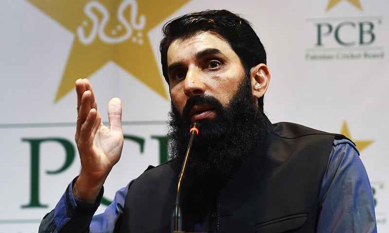 Former Pakistani cricket captain and newly appointed head coach of national cricket team Misbahul Haq speaks during a press conference in Lahore on Wednesday. — AFP