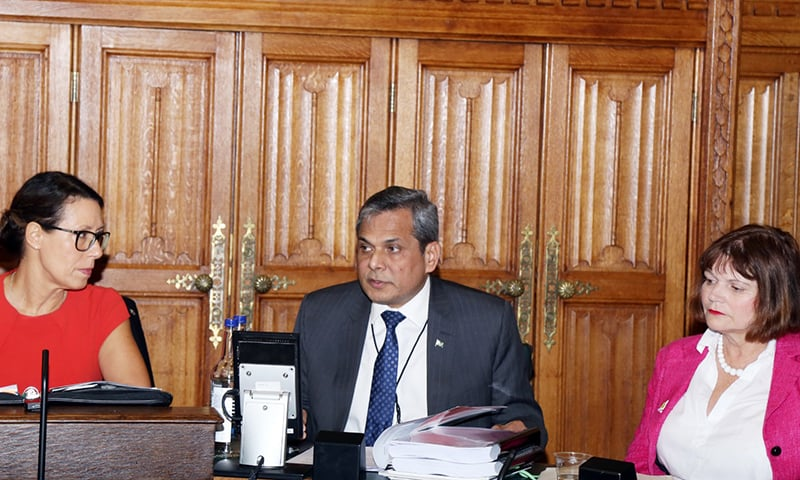 High Commissioner Mohammad Nafees Zakaria briefing the British Parliamentarians on the humanitarian crisis in India-occupied Kashmir at the British Parliament on Wednesday. — Pakistan High Commission in London