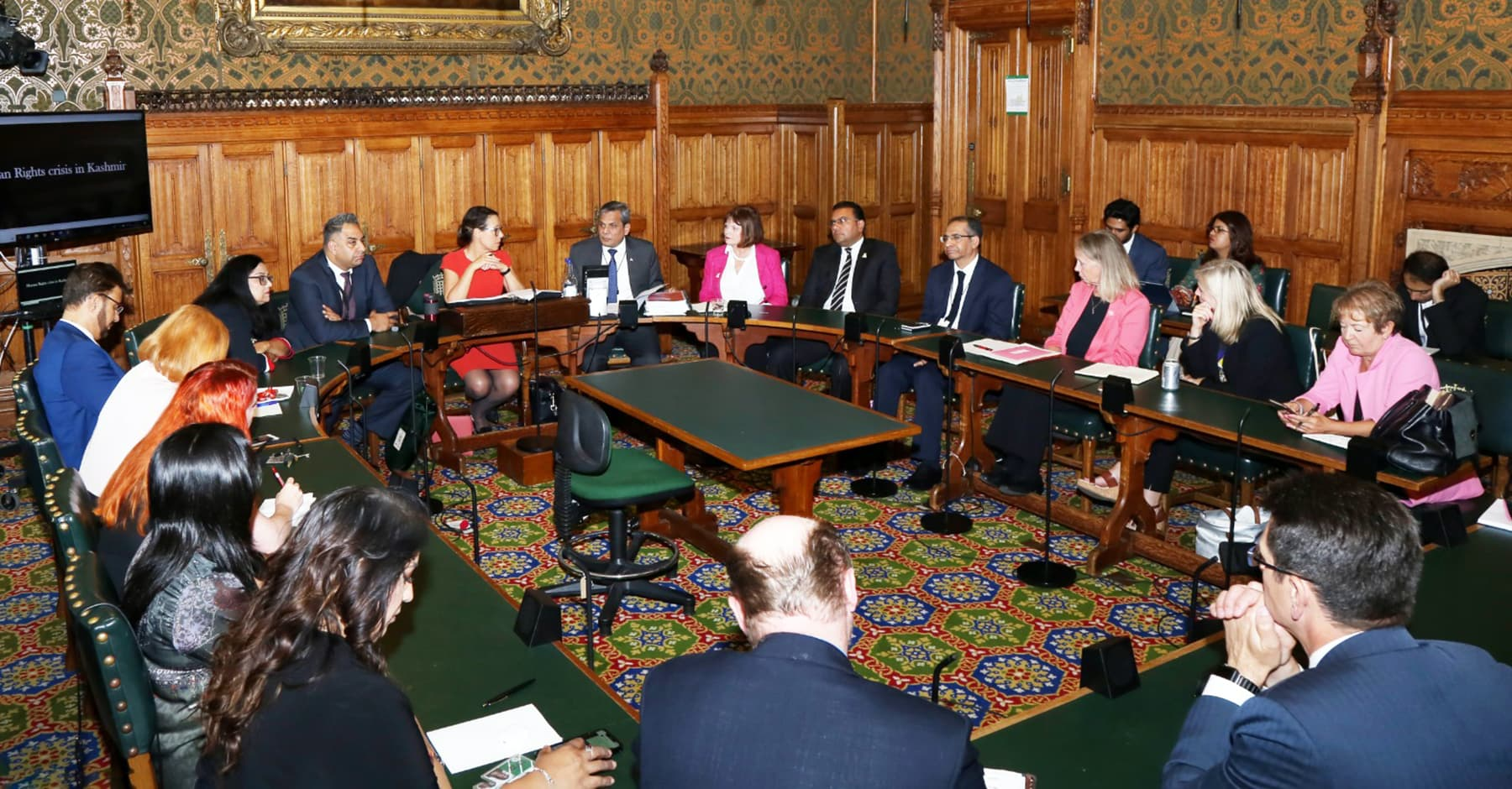 The high commissioner briefing a large number of British parliamentarians at the House of Commons in London on Wednesday. — Pakistan High Commission in London