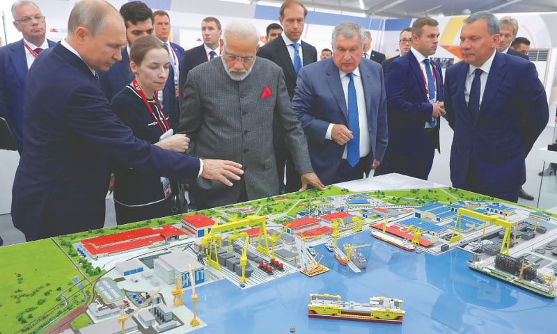 Vladivostok (Russia): Russian President Vladimir Putin and Indian Prime Minister Narendra Modi visit a shipbuilding plant outside Vladivostok on Wednesday.—Reuters