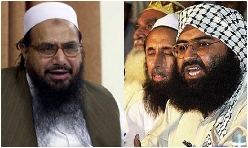 India officially declared Jaish-e-Mohammad (JeM) leader Masood Azhar (right) and Jamatud Dawa (JuD) chief and Lashkar-e-Taiba (LeT) founder Hafiz Muhammad Saeed (left) as terrorists under a new law. — Photos courtesy agencies