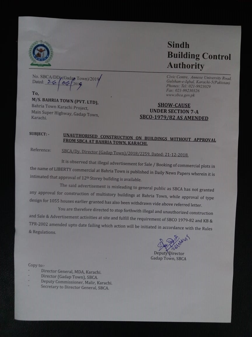 SBCA's show-cause notice asking Bahria to stop its unauthorised construction undertaken without mandatory NOCs.