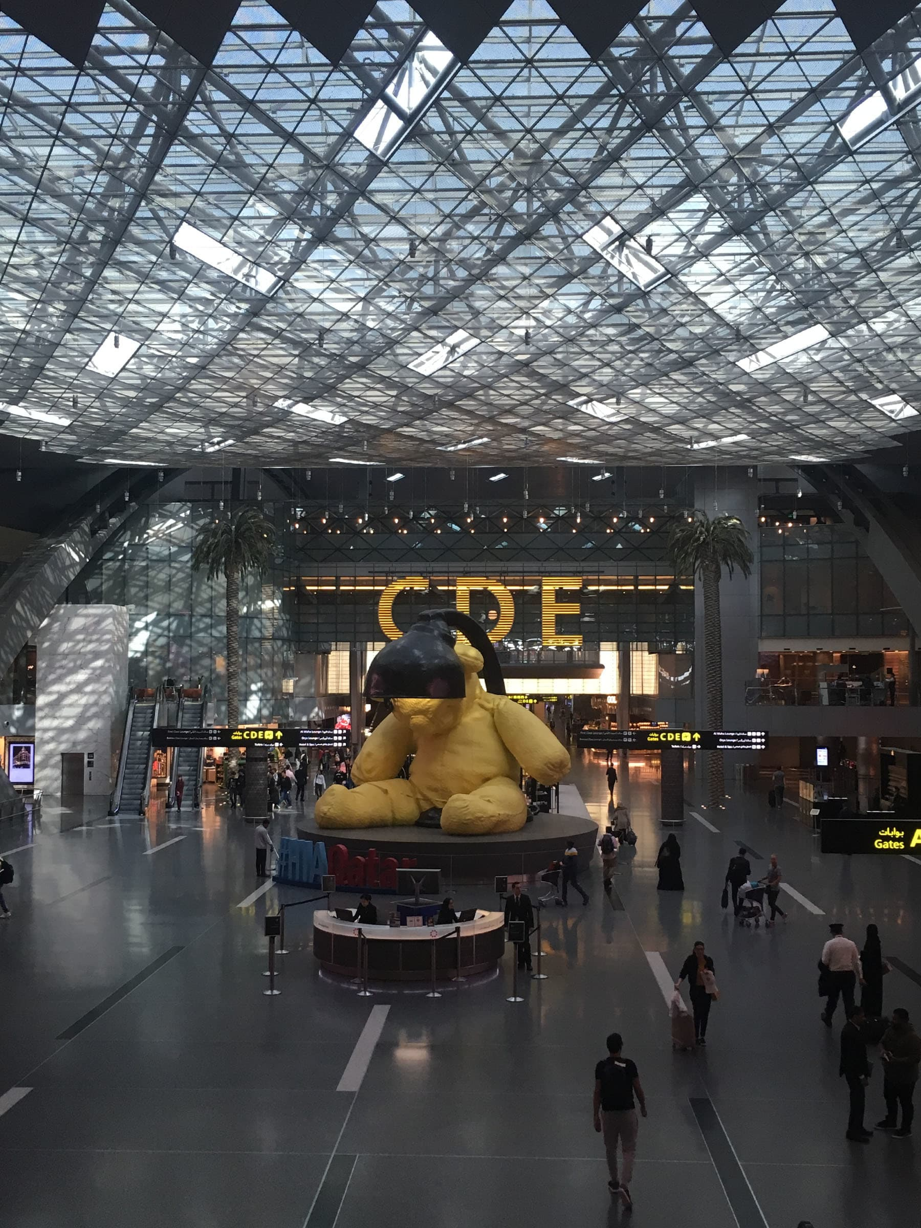 'Untitled Lamp Bear' by Swiss artist Urs Fischer at Hamad International Airport.