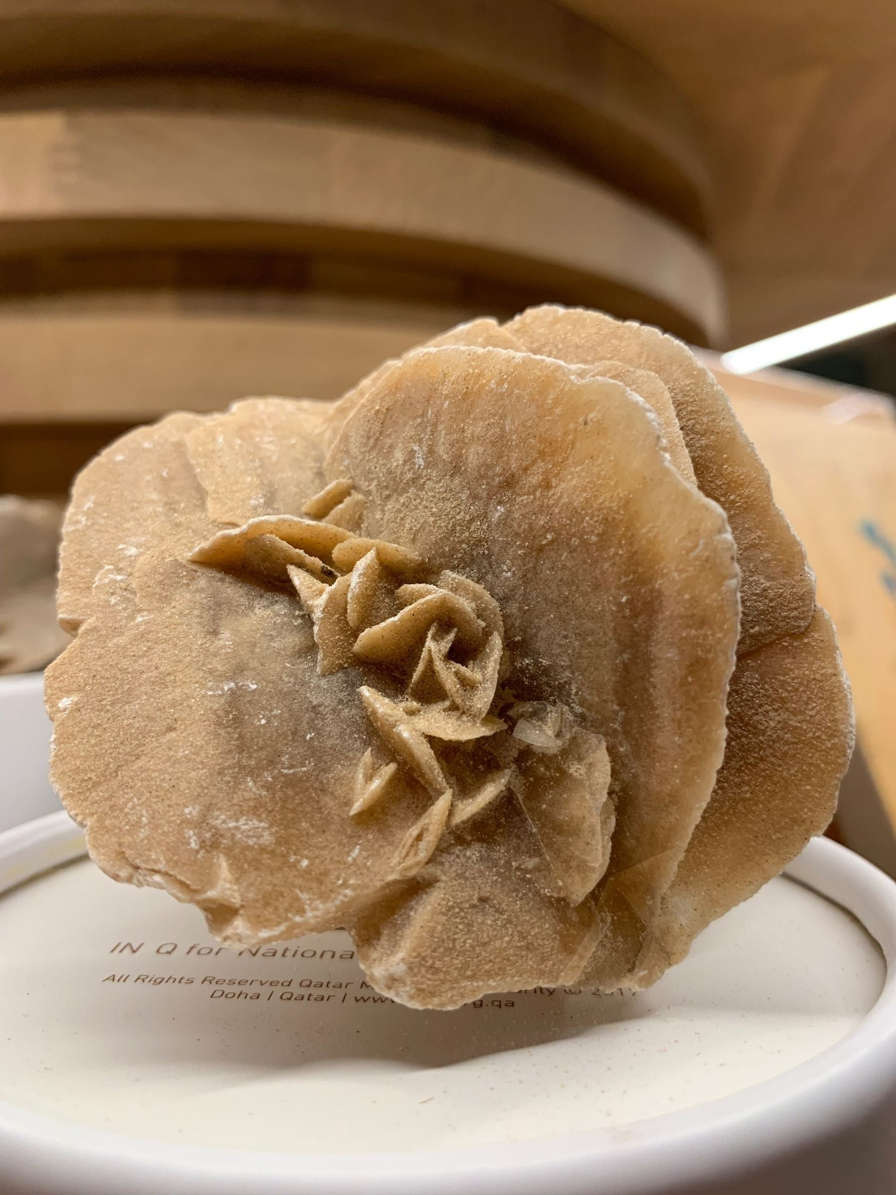 Replica of a desert rose at the National Museum of Qatar.