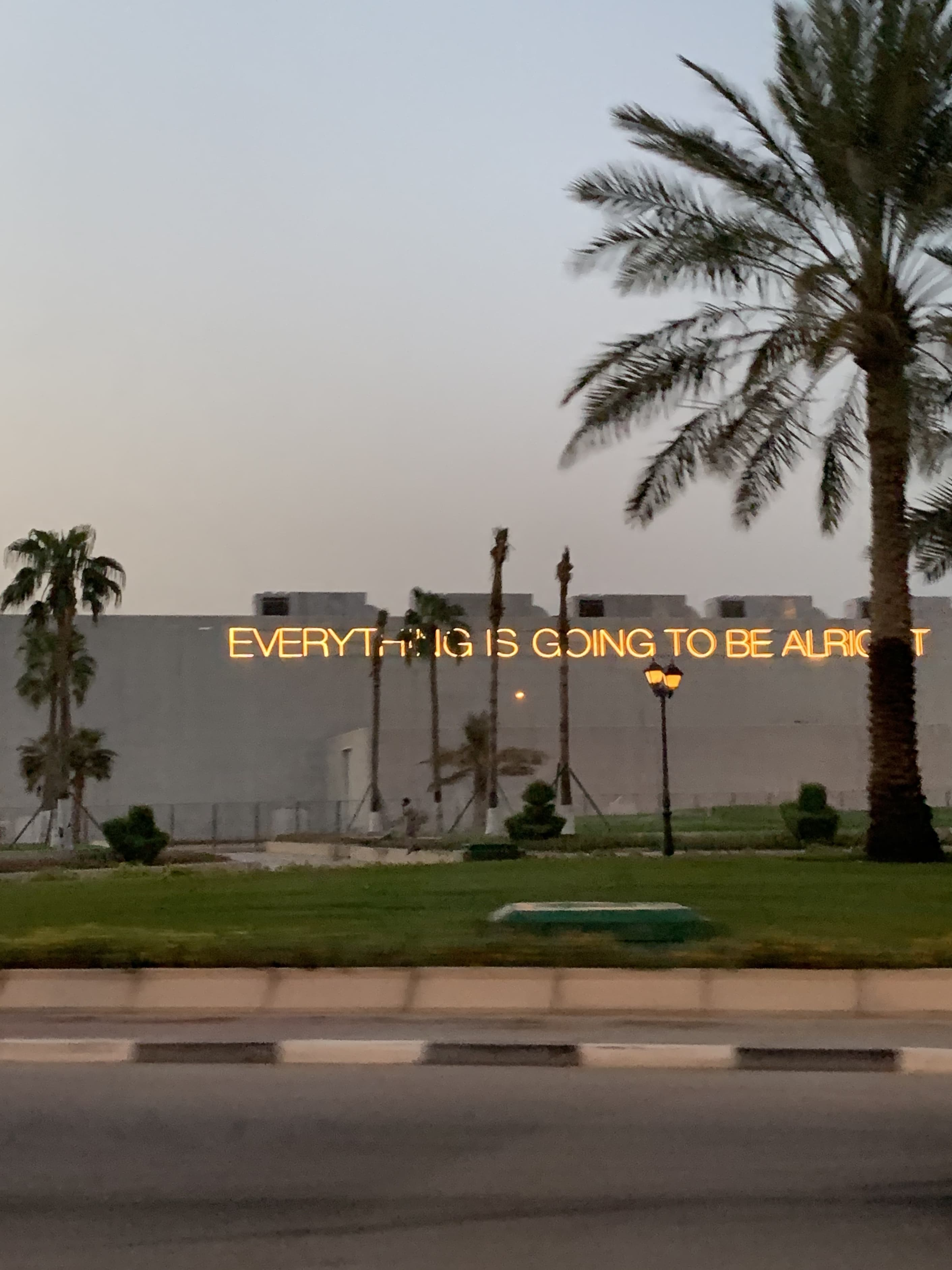'EVERYTHING IS GOING TO BE ALRIGHT' LED installation by British artist Martin Creed.