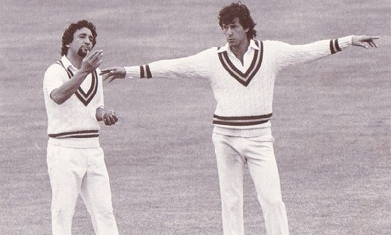Then Pakistan captain (now PM) Imran Khan setting the field for Abdul Qadir during a match. — Dawn/File