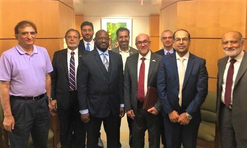 A delegation of the US Council of Muslim Organisations (USCMO) met US State Department's Deputy Assistant Secretary for Pakistan Affairs Ervin Massinga in Washington this week. — Photo courtesy State Dept Bureau of South and Central Asian Affairs Twitter