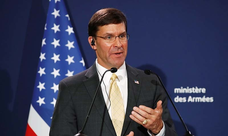 US Defence Secretary Mark Esper holds a news conference with French Defence Minister Florence Parly (not pictured) at the residence of French Defense Minister in Paris, France on September 7. — Reuters