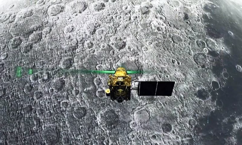 This screen grab taken from a live webcast by Indian Space Research Organisation (ISRO) on August 6, shows Vikram Lander before it was supposed to land on the Moon. — AFP
