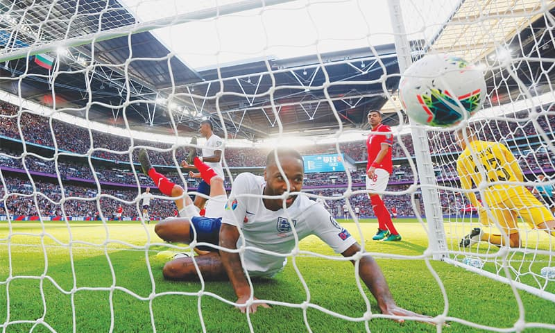 LONDON: England's Raheem Sterling scores during the Euro 2020 qualifier against Bulgaria at the Wembley Stadium.—Reuters