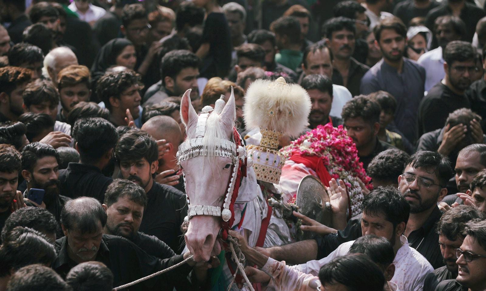 ملک بھر کی مختلف امام بارگاہوں سے شبیہ ذوالجناح کے جلوس برآمد ہوئے— فوٹو: اے ایف پی