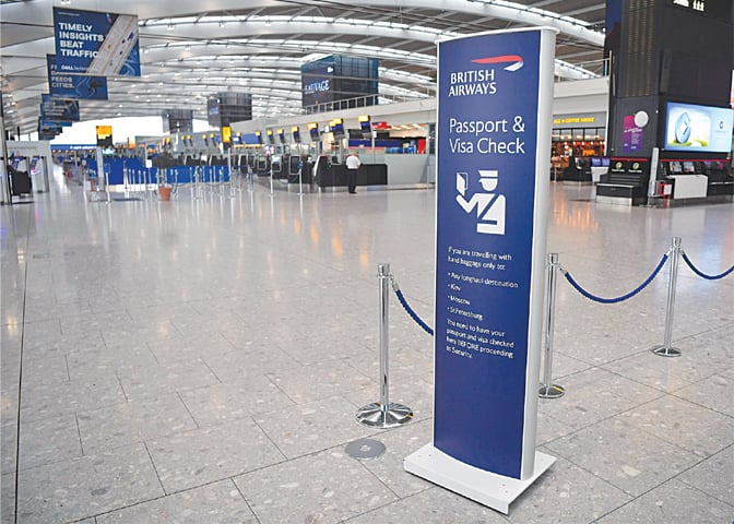 THE departure area at Heathrow airport Terminal 5 in west London is near-deserted as the first-ever strike by British Airways pilots began on Monday. The airline cancelled almost all flights departing and arriving into the UK, sparking travel chaos for tens of thousands of passengers—AFP