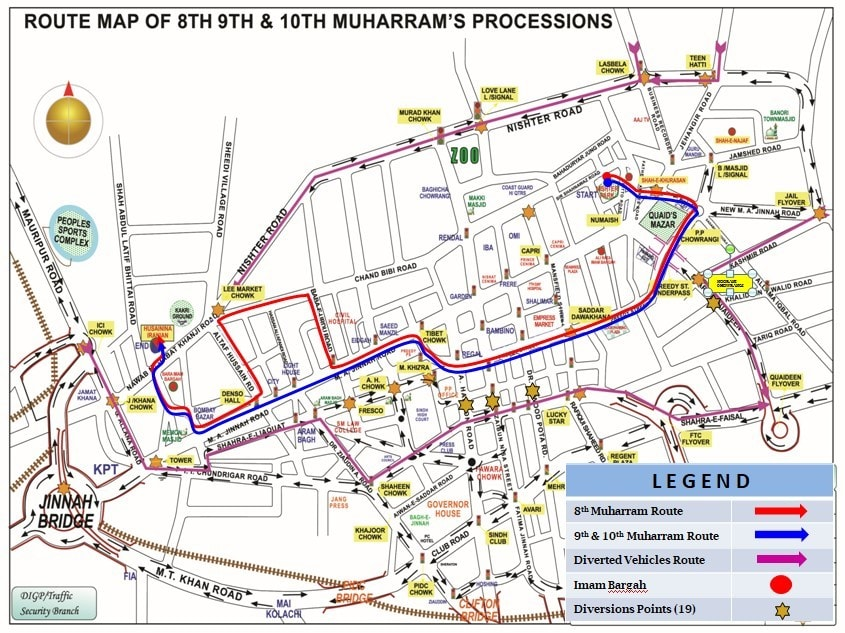 Routes of Muharram processions in Karachi. — Photo courtesy Karachi Traffic Police