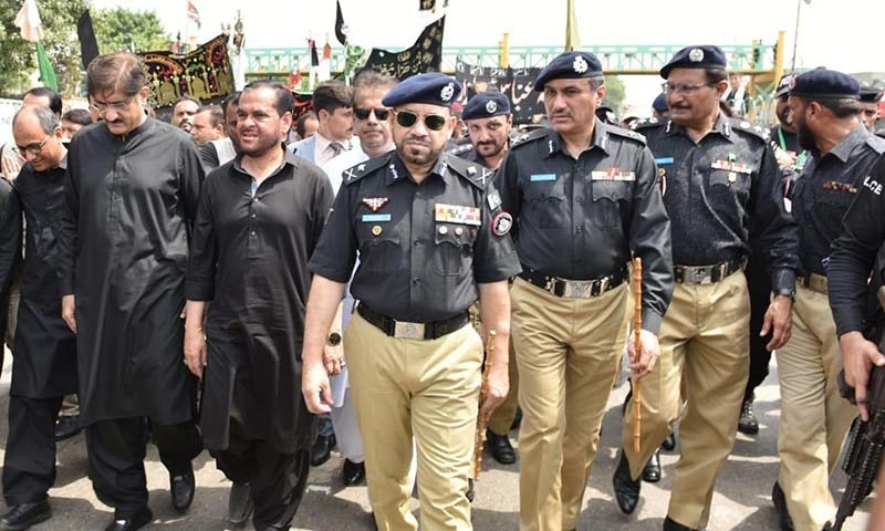 Sindh IGP Dr Syed Kaleem Imam, CM Murad Ali Shah and Information Minister Saeed Ghani pictured at the procession in Karachi. — Photo provided by Imtiaz Ali