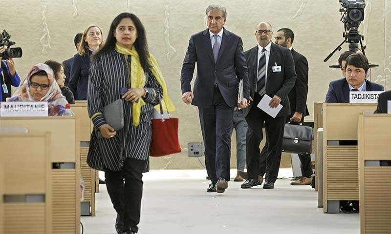 FM Qureshi arrives for a statement during the 42nd session of the Human Rights Council at the European headquarters of the United Nations in Geneva on Tuesday, — AP