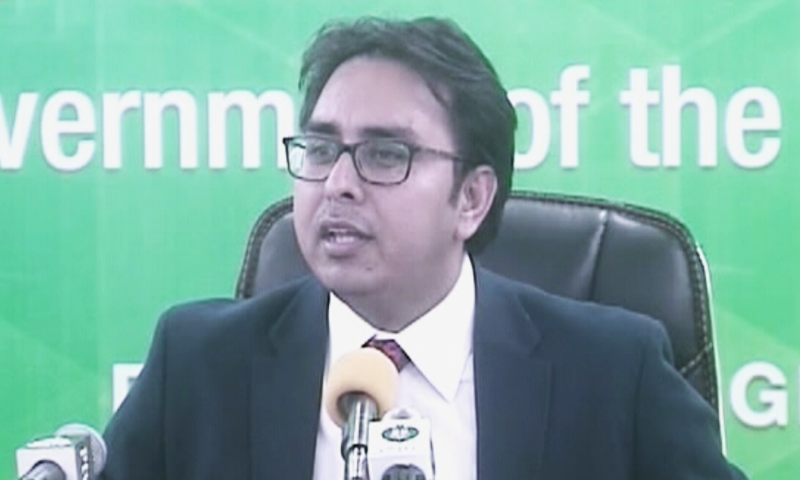 Punjab chief minister's spokesman Dr Shahbaz Gill addressing a press conference on Wednesday. — DawnNewsTV