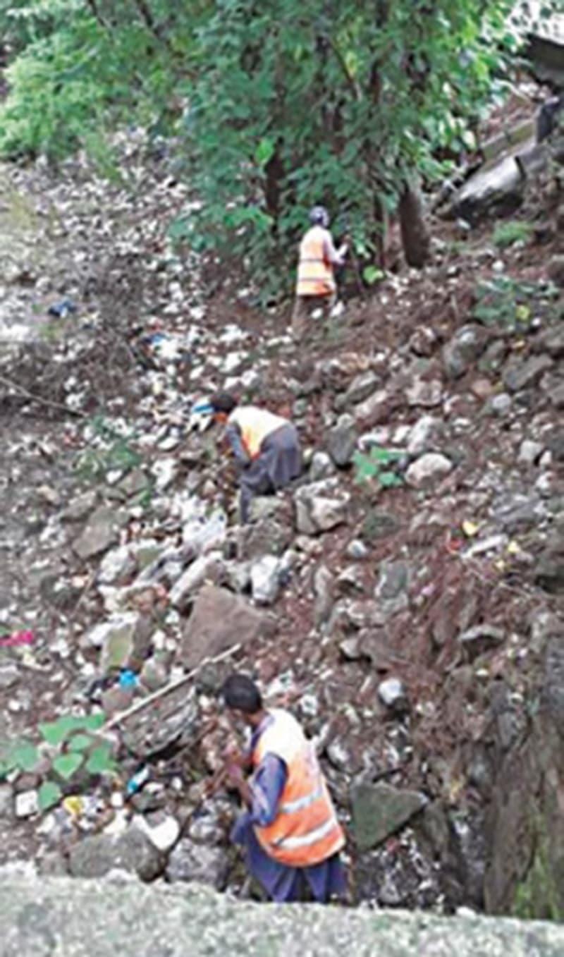 اسلام آباد وائلڈ لائف منیجمنٹ بورڈ کے اسٹاف ممبران اسلام آباد کے چڑیا گھر کے برابر میں موجود خشک ہوچکے اس نالے کی صفائی میں مصروف ہیں جہاں ایک وقت میں تازہ پانی چشمہ بہتا تھا مگر اب طعام خانوں کے مالکان یہاں کوڑا پھینکتے ہیں