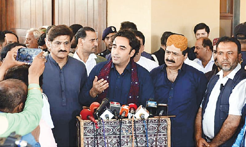 PPP chairman Bilawal Bhutto-Zardari talking to reporters on Wednesday.—PPI