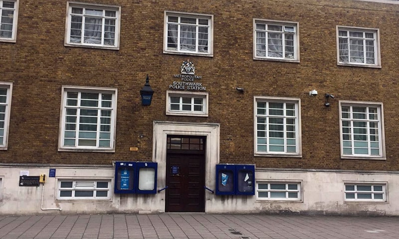 A view of the Southwark police station in London where Altaf Hussain is appearing. — Photo: Atika Rehman