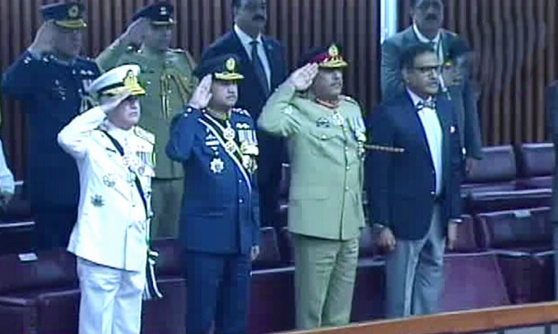 Chiefs of armed services attend the parliamentary session. — DawnNewsTV
