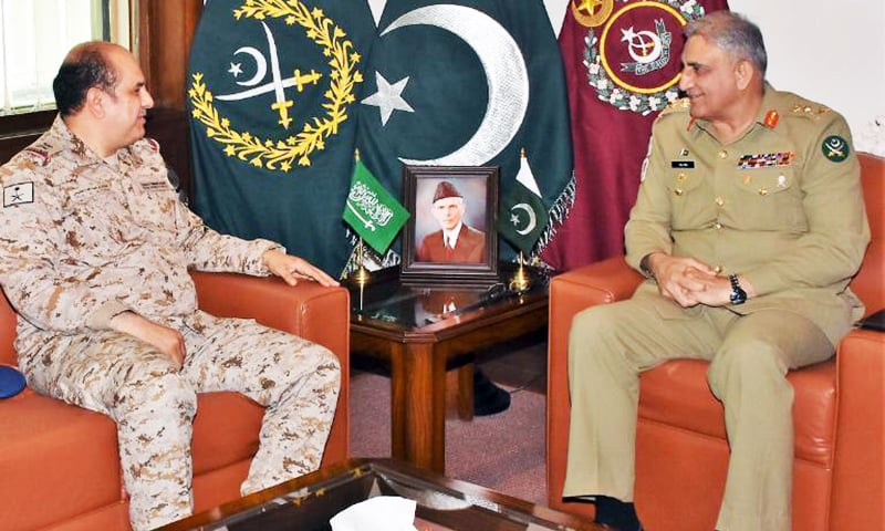 Military Adviser to Saudi Defence Minister Maj Gen Talal Abdullah Al-Otaibi and Chief of Army Staff (COAS) Gen Qamar Javed Bajwa in a meeting at the GHQ on Sept 12. — Photo courtesy of ISPR