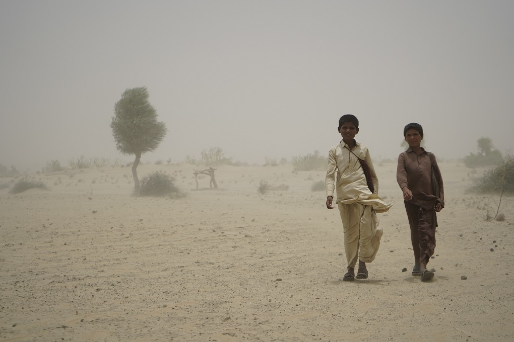 Two children returning from school just a month and a half ago in the district of Umerkot. — Photo by Manoj Genani