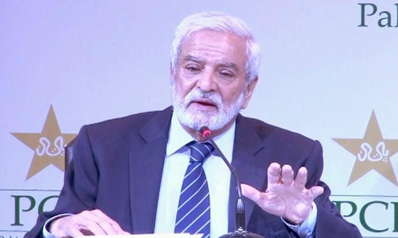 Pakistan Cricket Board (PCB) chairman Ehsan Mani addressing a press conference. — DawnNewsTV