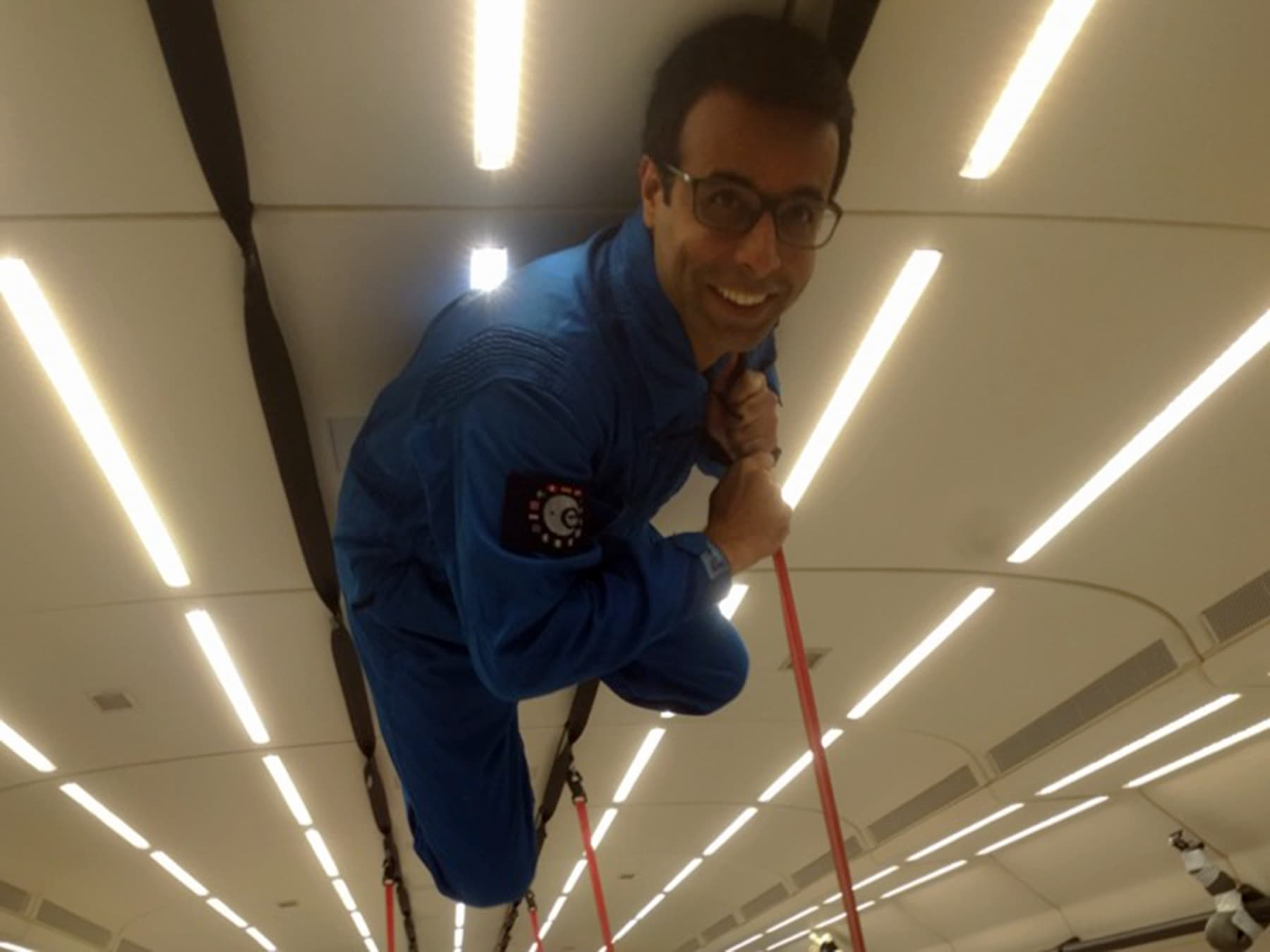 Dr Samad experimenting under zero gravity conditions. — Photo courtesy: ESA