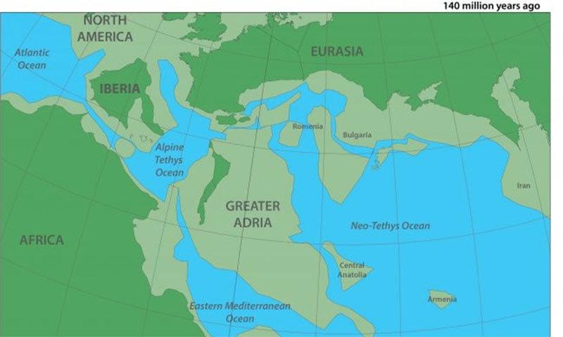سائنسدانوں کے خیال میں 14 کروڑ سال پہلے زمین کا نقشہ ایسا تھا — فوٹو بشکریہ گونڈ وانا ریسرچ