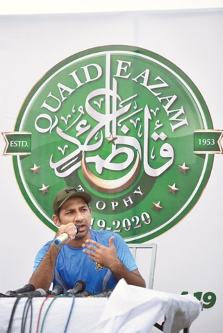 SARFRAZ Ahmed addresses a press conference at the UBL Sports Complex on Saturday.—Tahir Jamal/White Star
