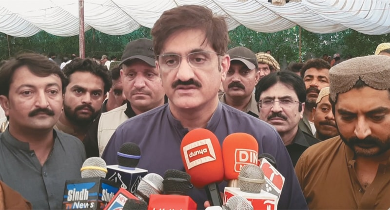 CHIEF Minister Syed Murad Ali Shah speaks to the media in Naining Sharif on Saturday.—Dawn