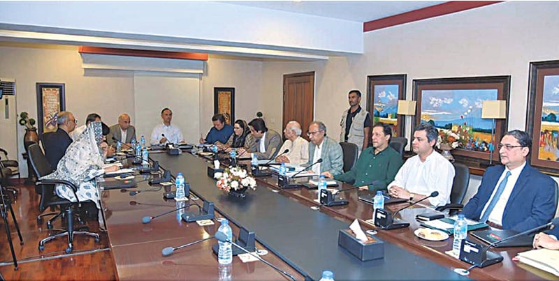 Prime Minister Imran Khan chairs a meeting of the government's economic team on Saturday.—APP