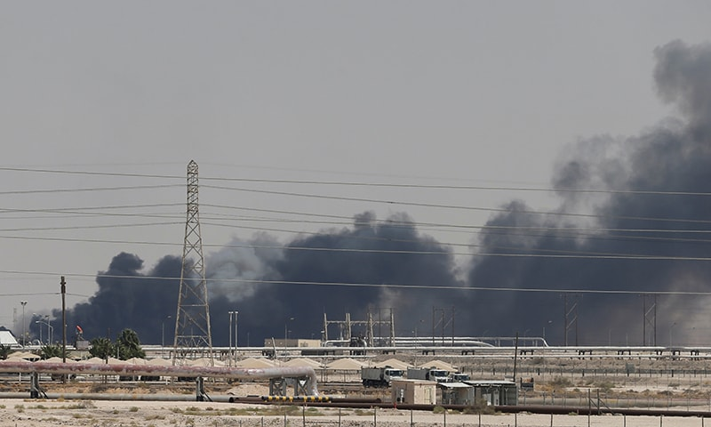 Smoke is seen following a fire at Aramco facility in the eastern city of Abqaiq, Saudi Arabia, on September 14, 2019. — Reuters