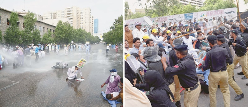Police use a water cannon and baton charge against the  protesting headmasters to prevent them from marching on Chief Minister  House on Sunday. — Online / White Star