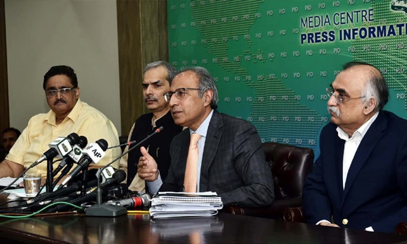 Speaking at a news conference on Sunday, Adviser to the Prime Minister on Finance and Revenue Dr Abdul Hafeez Shaikh hinted at addition of two profitable financial institutions — National Bank of Pakistan (NBP) and State Life Insurance Corporation (SLIC) — to the list of fast-track privatisation to improve their productivity and potential. — Photo courtesy Radio Pakistan