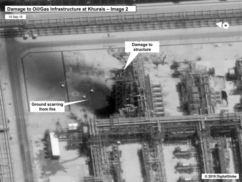 This image provided on Sunday by the US government and DigitalGlobe and annotated by the source, shows damage to the infrastructure at at Saudi Aramco's Kuirais oil field in Buqyaq, Saudi Arabia. ─ US govt/Digital Globe via AP