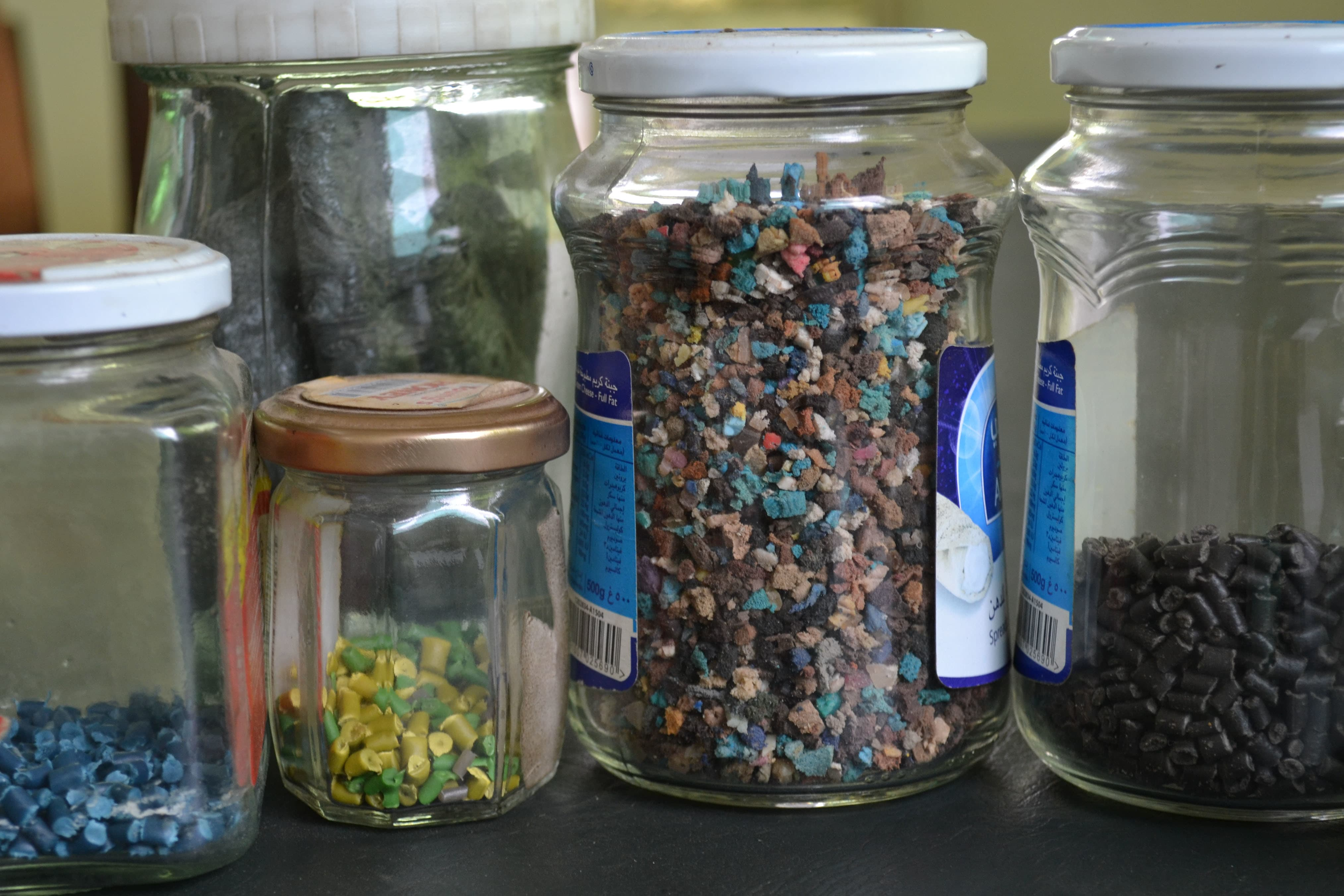 Recycled plastic is reduced to pellets which can be used to produce new plastic products. —*Photo by author*